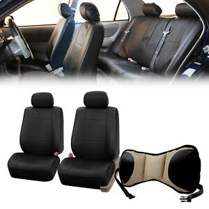 Pu Leather Front Bucket Pair Black For Auto With Seat Back Cushion Pad Beige