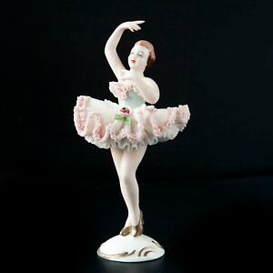Vintage Dresden Porcelain Lace Figurine Ballerina Dancer Gilt Accent Flowers