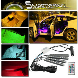 4pcs Rgb Color Led Glow Interior Car Under Dash Atmosphere Light 7colors Remote