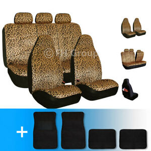 Leopard Car Seat Cover Set For Highback Seat Auto Brown With Carpet Floor Mat