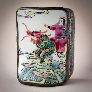 Vintage Trinket Or Jewelry Box Made From A Chinese Antique Porcelain Chard
