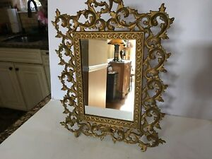 Unique Ornate Brass Large Vintage Vanity Stand Up Or Frame Mirror 16 X 12