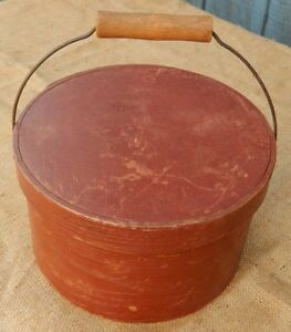 Red Thick Walled Bail Handle Pantry Box Sturdy With Old Paint