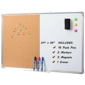 Magnetic Dry Erase Whiteboard Cork Board Combo Board Set Wall Mounted 24 x36