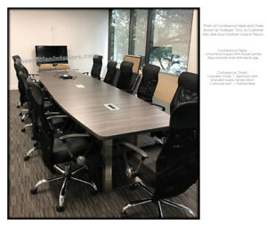 14 Foot Boat Shaped Conference Table Metal Legs And 12 Chairs Set Power And Data