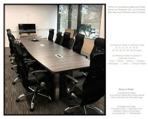 12 Foot Conference Table With Metal Legs And 10 Chairs Set Power And Data Colors