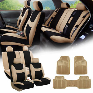 Beige Black Car Seat Covers Full Set For Auto W 4 Headrests Rubber Floor Mats