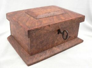 Antique Victorian Burl Wood Small Locking Dresser Box With Key Red Velvet Lined