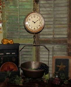 Primitive Antique Vtg Style General Store Hang Tray Basket Produce Scale Clock