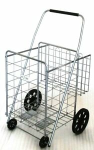Folding Shopping Cart With Basket cart Size 39 8 X 24 4 X 22 4 Silver