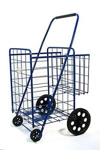 Shopping Cart With Basket Grocery Folding Cart size 39 8 X 24 4 X 22 4 Inch blue