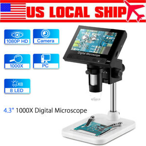 1000x 5 0mp 4 3 Lcd 720p Microscope Digital Magnifier Tool Usb With Holder 8led