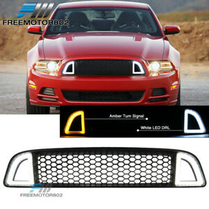 Fits 13 14 Ford Mustang Non Shelby Front Upper Led Grille