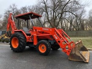 2005 Kubota L48 Backhoe Loader Tractor Diesel 4x4 856 Hours Rubber Tire Back hoe