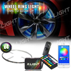 Bluetooth 15 Wheel Ring Led Neon Glow Light Kit music Active Red Brake Mode