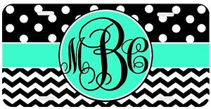 Personalized Monogrammed License Plate Auto Car Tag Polka Dot Chevron Mint Black