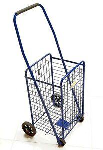 Heavy Duty Folding Shopping Cart For Grocery Blue Size 36 X 14 X 11 5