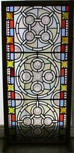 Old English Leaded Stained Glass Window Hand Painted Victorian Panels 24 X 50