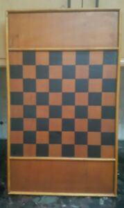 Vtg Antique Primitive Wooden Gameboard Checkerboard Black Brownish Mustard