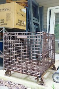 Antique Industrial Folding Steel Cage Bulk Cargo Shipping Container 31x39x36