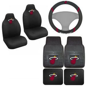 7pc Set Nba Miami Heat Car Truck Seat Covers Floor Mats Steering Wheel Cover
