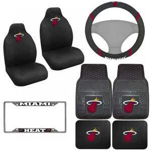 8pc Set Nba Miami Heat Car Truck Seat Covers Floor Mats Steering Wheel Cover