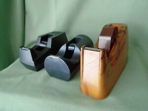 Vtg Lot 3 Scotch Tape Dispenser Holders Faux Wood Heavy Duty 3m C 40 Black Devel