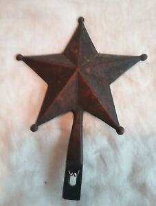 Antique Metal Star Finial Or Hanger Texas Lone Star With Aged Bronze Patina