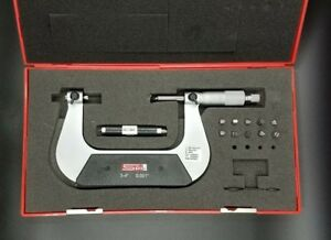 Calibrated Spi 13 517 8 Screw Thread Pitch Micrometer 3 4 Case Anvils