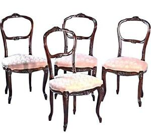 19th C Four 4 Walnut Rococo Revival Dining Side Accent Chairs Victorian Antique