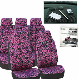 Car Seat Covers Purple Leopard Velour With Free Gift Dash Grip Pad