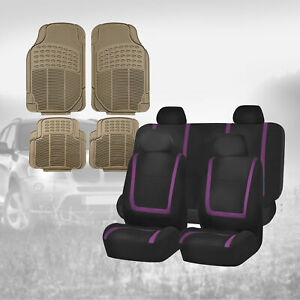 Black Purple Car Seat Covers With Beige Floor Mats Combo For Auto Car Suv
