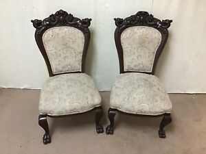 Pair Of Caved Lion Headed Victorian Side Parlor Chairs