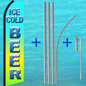Ice Cold Beer Swooper Flag Pole Mount Kit Tall Flutter Feather Banner Sign