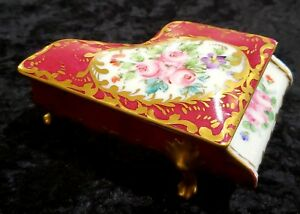 Antique French Sevres Porcelain Piano Box Hand Painted Roses Footed