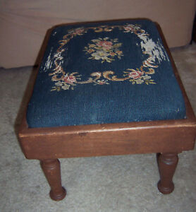 Antique Vintage Classic Wood Footstool Ottoman Bench Needlepoint Blue Sturdy