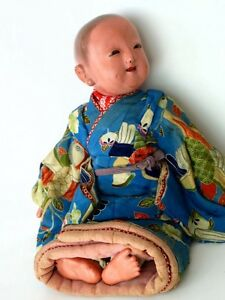 Antique Meiji Era Late 1800s Japanese Ichimatsu Doll Newborn Baby Boy Gofun