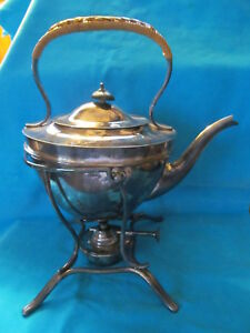Elegant Silver Plate Tilting Tea Pot Ketle With Stand And Warmer Vgc