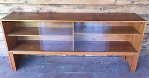 Mid Century Credenza Bookcase Made In Denmark W Shelves Glass Sliding Doors