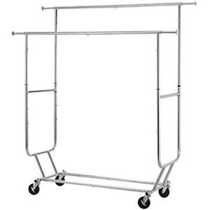 Heavy Duty Clothes Rack Sturdy Double Rod Garment Large Collapsible Rolling For