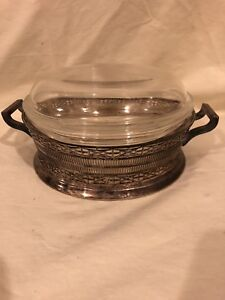 Vintage Silver Plate Serving Dish Pyrex Dish With Cover Silverplate