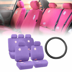 Floral Purple Car Seat Covers For Auto With Leather Steering Wheel Cover