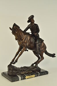 Frederic Remington Bronze Statue On Marble Cowboy On Bronco Horse 21 Width