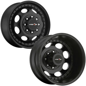 Set Of 6 vision 181h Hauler Dually 19 5 8x6 5 Black Wheels Rims lugs Included