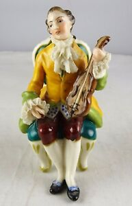Antique Volkstedt Porcelain Small Figurine Reclining Violinist