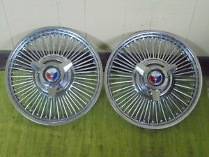 63 64 Ford Wire Spoke Spinner Hub Caps 14 Set Of 2 Wheel Cover 1963 1964 Hubcap