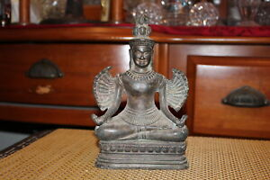 Antique Chinese Asian Bronze Metal Buddhist Religious Spiritual Statue With Wing