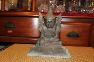 Antique Chinese Asian Bronze Metal Buddhist Religious Spiritual Statue W Wings