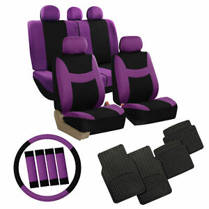 Car Seat Covers Purple Set For Auto W steering Wheel belt Pad floor Mat