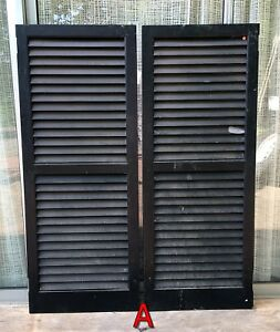 Pair Wood House Shutters Louvered Vintage Painted Old Farmhouse Decor 51x20 A